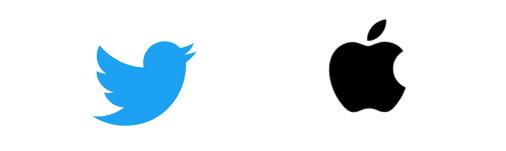 Logo Apple et Twitter
